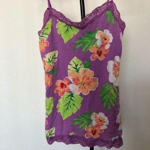 USED Cute Floral Spaghetti Strap top